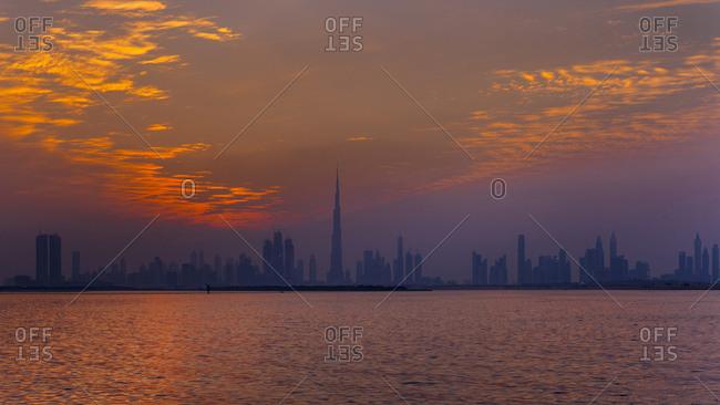 United Arab Emirates- Dubai- silhouette of the skyline at twilight