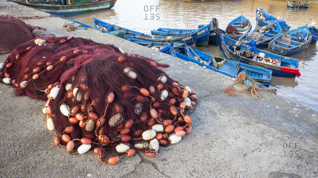Morocco- Essaouira- fishing harbor- nets