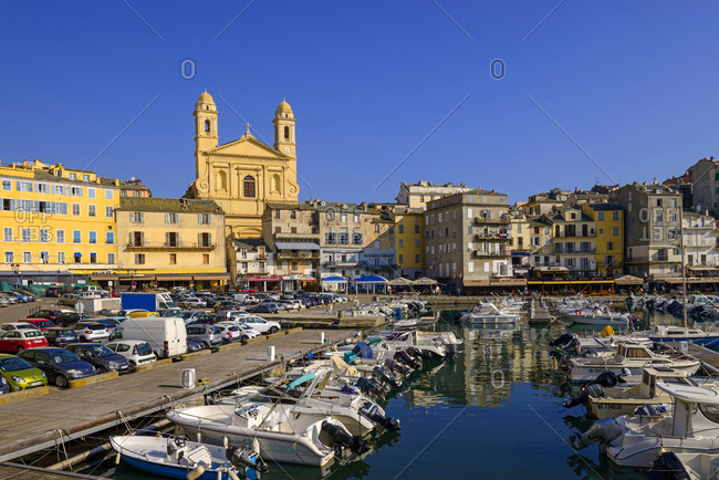 France- Corsica- Bastia- old harbor with St. John Baptist church