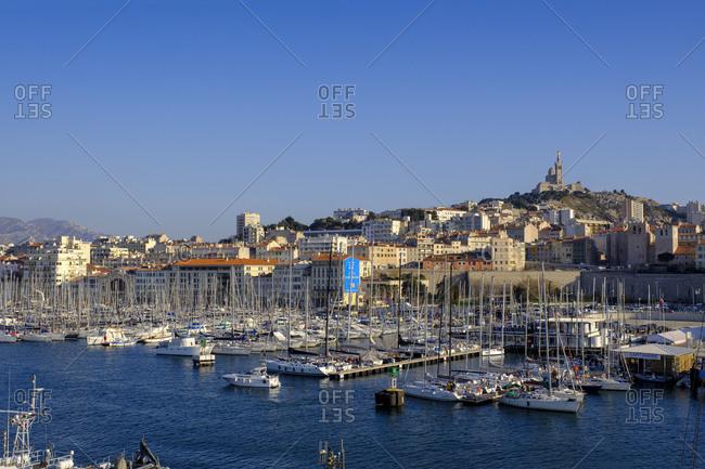 France- Marseille- old harbor with the Notre Dame de la Garde