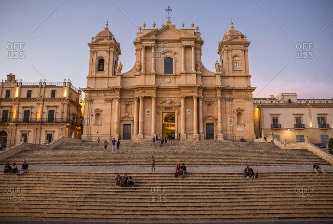 Italy- Sicily- Syracuse Province- Val di Noto- Noto- Noto Cathedral in the evening