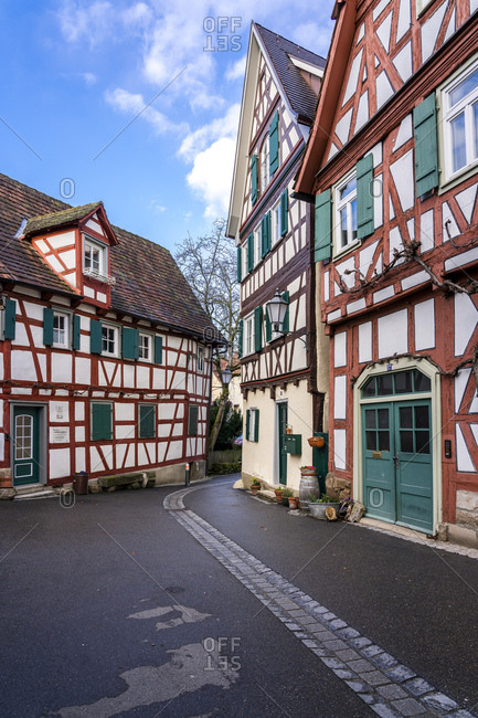 Germany- Baden-Wuerttemberg- Schorndorf- Old town- half-timbered houses