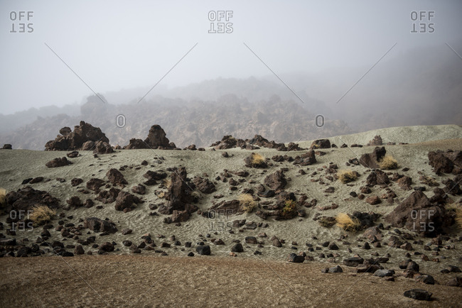 Volcanic Desert Unique Landscape Area Of Teide National Park In Fog
