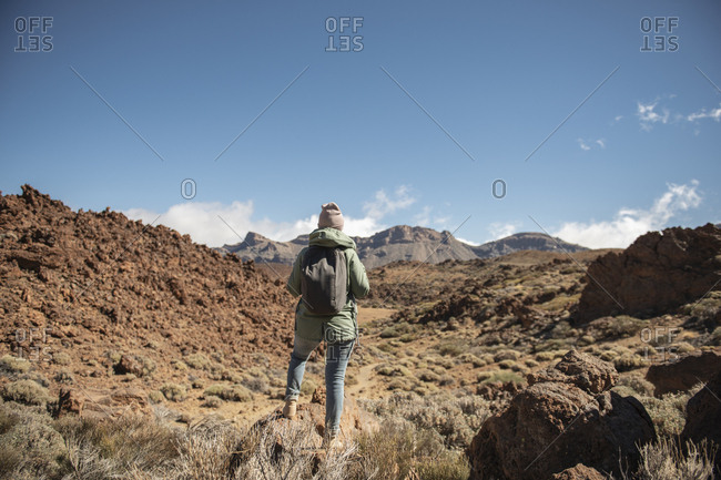 Rear view of woman standing against desert landscape and mountains