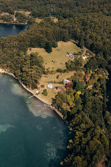 Aerial of a small property in Tasmania