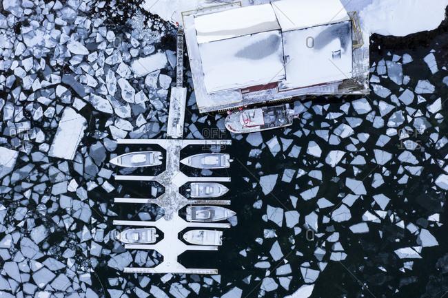 Harbor in the frozen sea, Balls tad, Lofoten Islands, Norway