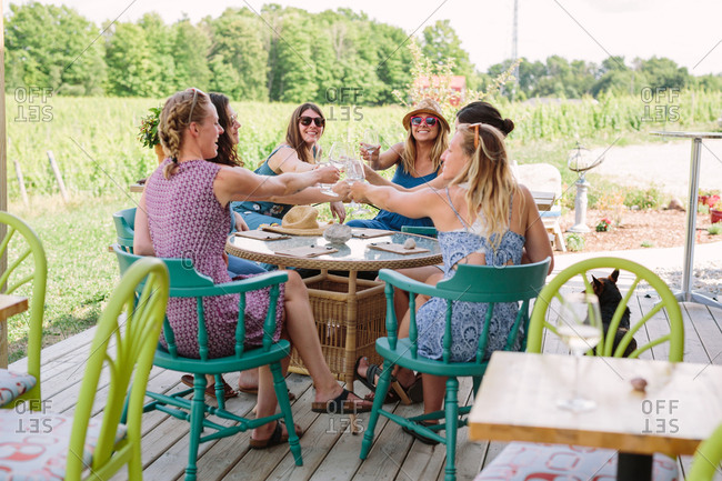 Women clinking glasses of wine together on a winery tour