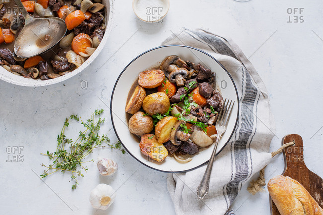 Boeuf bourgignon beef stew with roasted potatoes