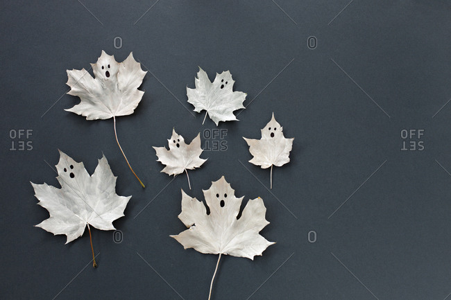 Ghosts made from maple leaves