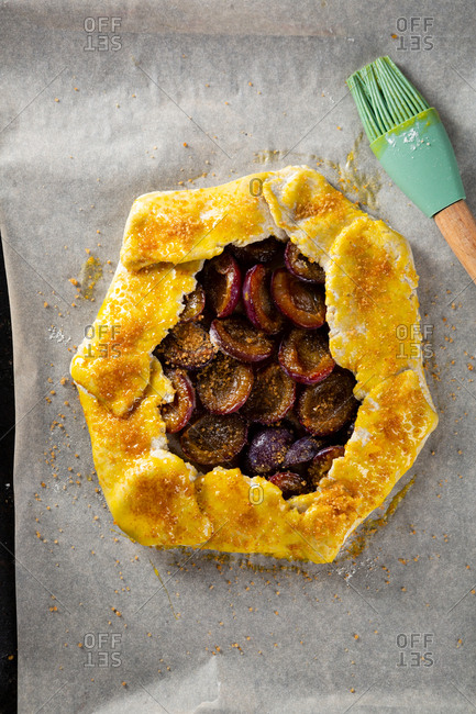 Cooking Rustic plum galette