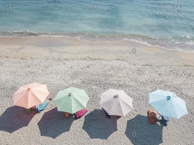 Sunloungers and beach umbrellas, Nusa Penida, Bali, Indonesia
