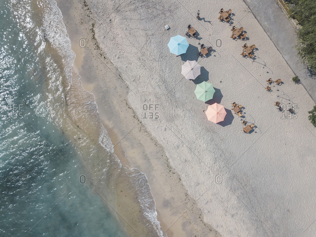 Sun shades at the beach from above, Nusa Penida, Bali, Indonesia