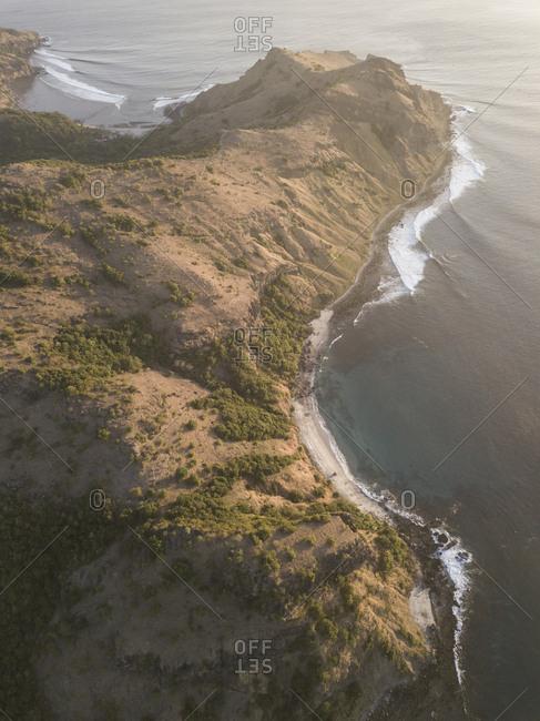 Aerial view of ocean coastline, Sumbawa, Indonesia