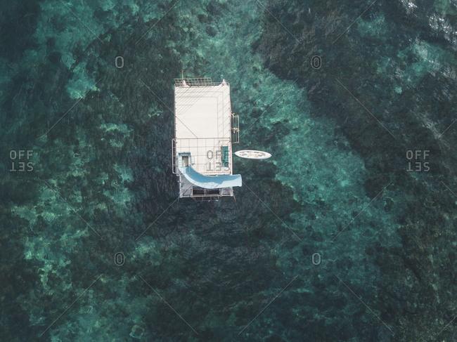 Aerial view of bathing platform, Nusa Penida, Bali, Indonesia