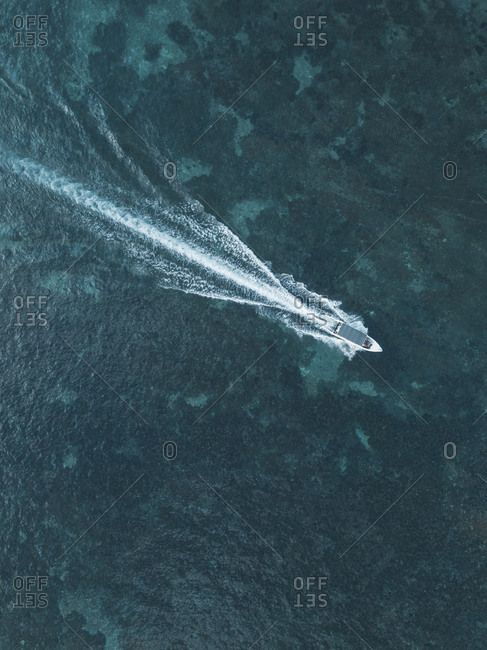 Aerial view of excursion boat, Nusa Penida island, Bali, Indonesia
