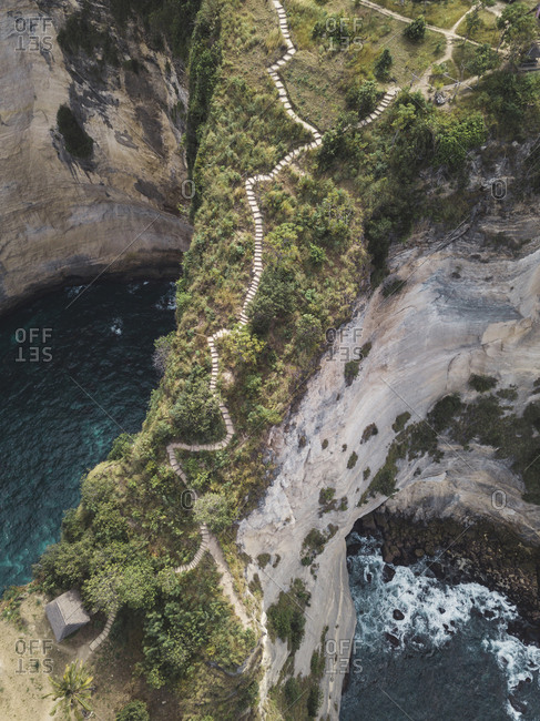 Aerial view of stairs, Thousand islands viewpoint, Nusa Penida, Bali, Indonesia