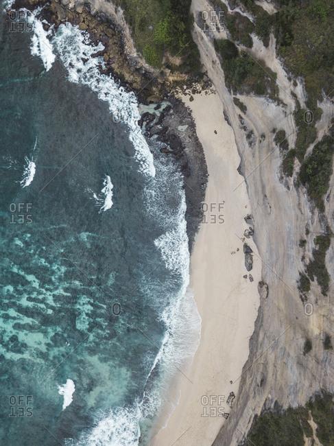 Aerial view of Diamond beach, Nusa Penida island, Bali, Indonesia