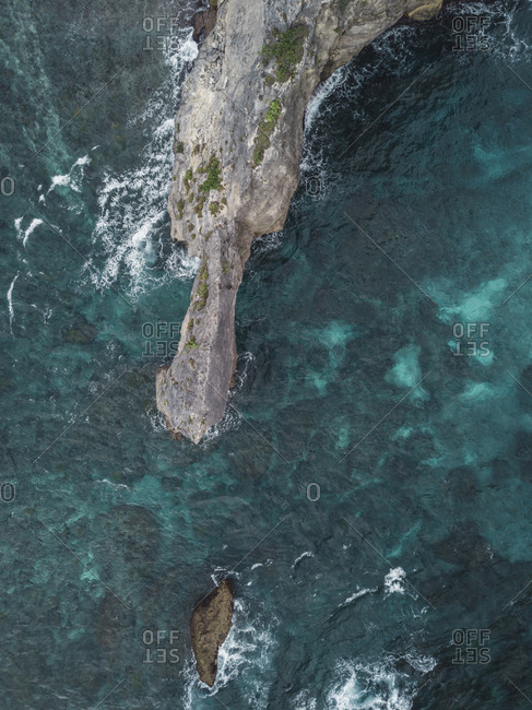 Aerial view of  rock formation near Atuh beach, Nusa Penida island, Bali, Indonesia