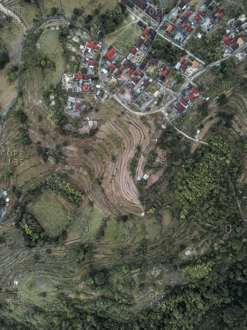 Aerial view of village at fields, Nusa Penida, Bali, Indonesia