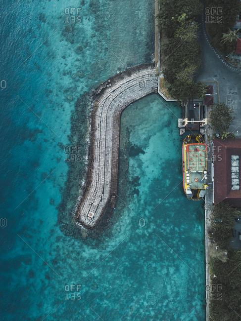Aerial view of car ferry, Nusa Penida, Bali, Indonesia