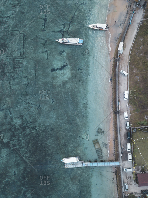 Aerial view of mooring area and boats, Nusa Penida, Bali, Indonesia