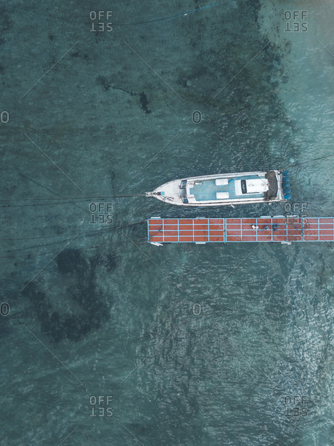 Aerial view of mooring area and boat, Nusa Penida, Bali, Indonesia