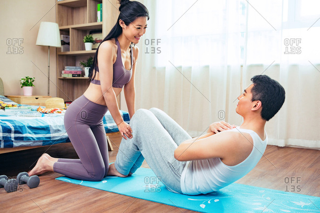 Young men and women fitness