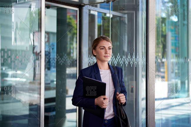 Beautiful businesswoman going to a meeting, modern working lifestyle in urban city