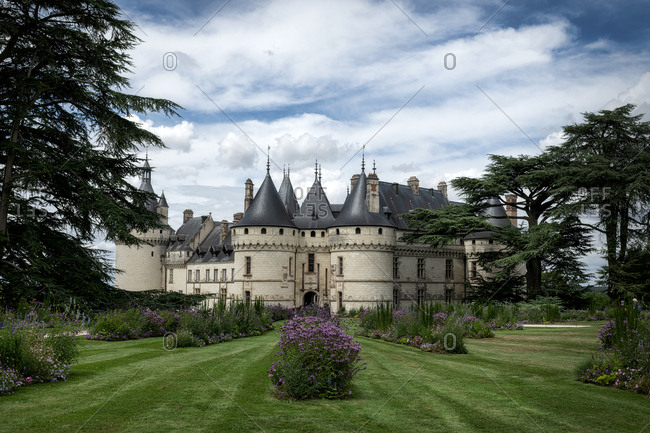 Chaumont, France - August 10, 2018: Chateau Chaumont castle and the surround gardens