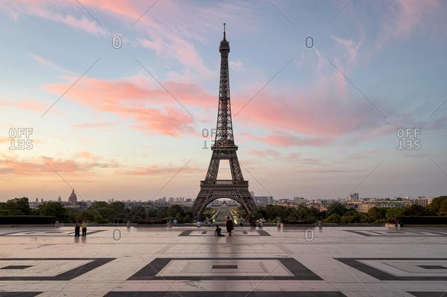 Paris, France - August 5, 2018: The Eiffel tower at dusk