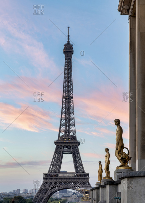 Paris, France - August 5, 2018: The Eiffel tower at dusk see from the Palais de Chaillot