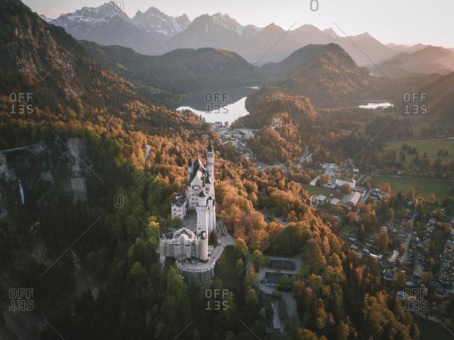Neuschwanstein Castle in Germany from above