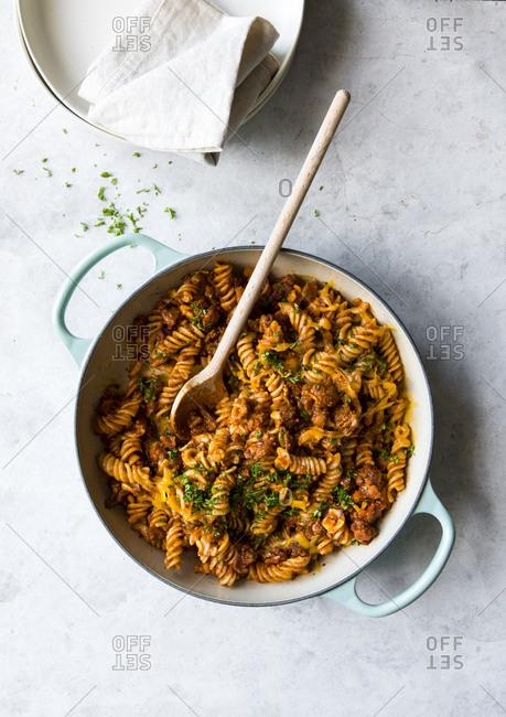 Whole wheat ragu pasta in skillet