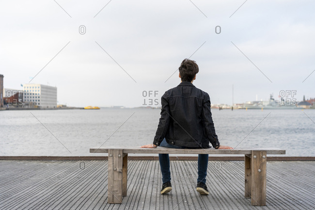 Denmark- Copenhagen- rear view of young man sitting on a bench at the waterfront