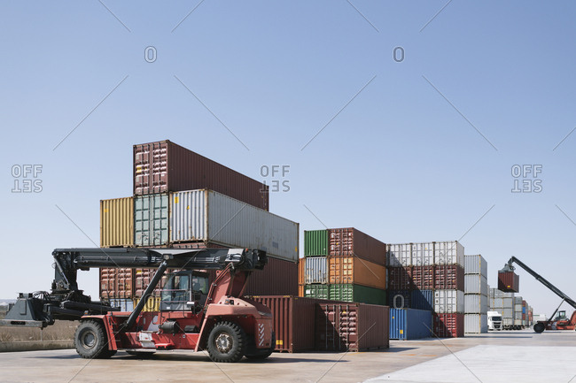 Stack of containers on industrial site
