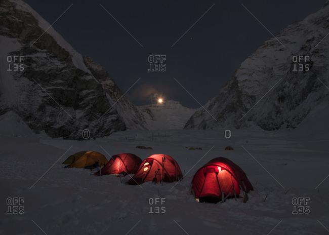Nepal- Solo Khumbu- Everest- Western Cwm at night