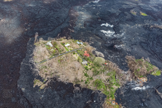USA- Hawaii- Big Island- aerial view of the impacts of the volcanic eruption in 2018