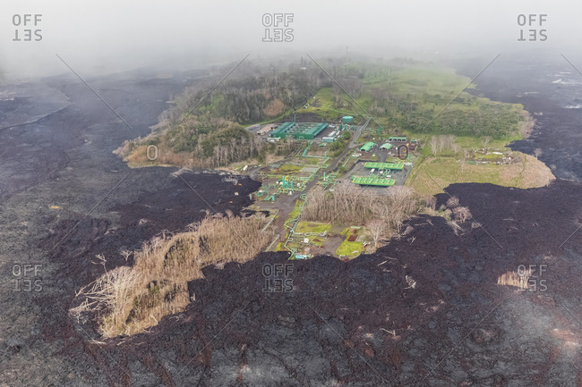 USA- Hawaii- Big Island- aerial view of the impacts of the volcanic eruption in 2018- Puna Geothermal Power Plant