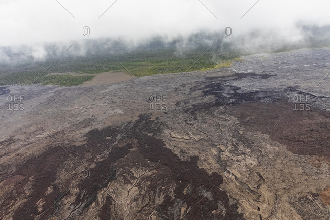 USA- Hawaii- Big Island- aerial view of cooled down lava fields and crater