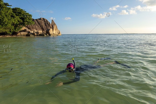 Seychelles- La Digue- Anse Source D«Argent- woman snorkeling