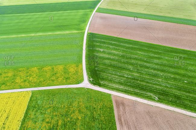Germany- Baden-Wuerttemberg- Rems-Murr-Kreis- Aerial view of fields in spring