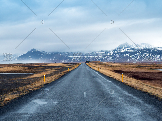 Iceland- Road 54 at Snaefellsjoekull National Park early in the morning in winter