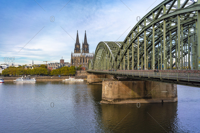 September 26, 2018: Germany- Cologne- Hohenzollern Bridge and Cologne Cathedral in the morning