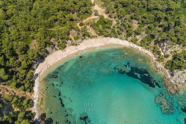 Greece- aerial view of bay at Alonaki Fanariou