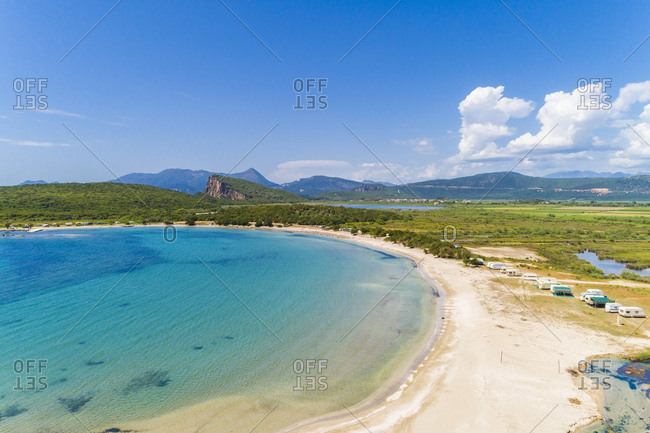 Greece- aerial view of beach by Ammoudia