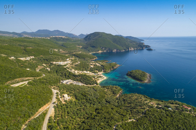Greece- aerial view of coastal landscape at Syvota