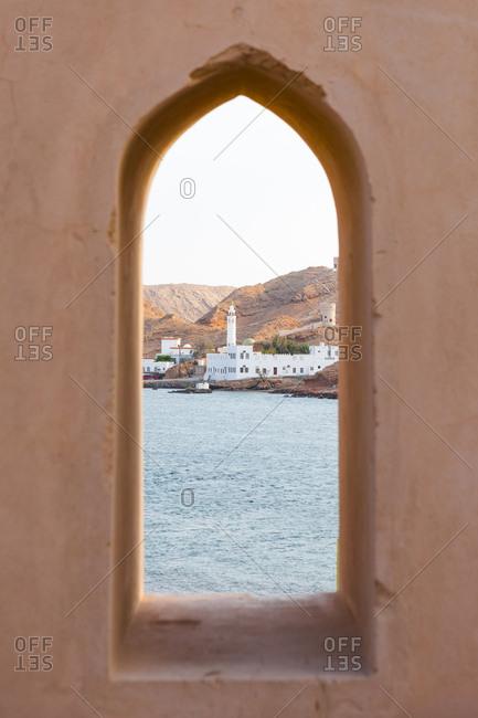Al Ayjah mosque seen from Al Ayjah lighthouse- Sur- Oman