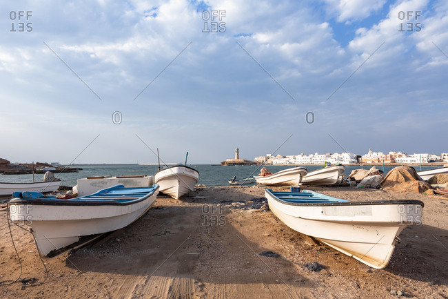 February 28, 2019: Fishing boats at Sur bay- Sur- Oman
