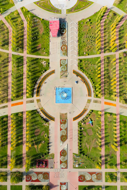 September 28, 2018: Aerial view of Lovers Park, Nur Sultan, Kazakhstan. Taken in Autumn and with  a birds eye perspective.
