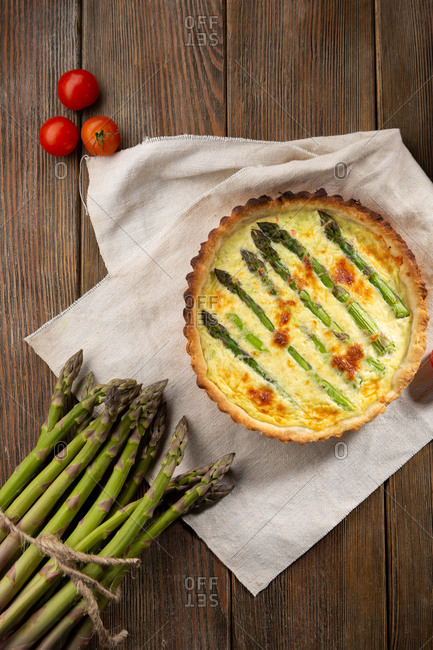 Tart with asparagus top view